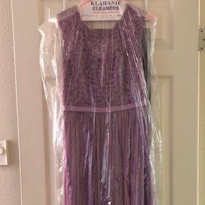Purple Lace Top Bridesmaid Dress